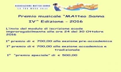 """Premio musicale """"Matteo Sanna"""" edizione - anno 2016"""